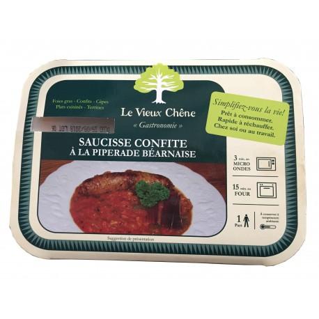 1 saucisse confite à la piperade Béarnaise