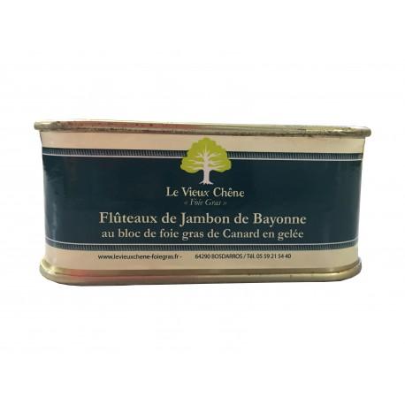Flûteaux de Jambon de Bayonne au bloc de foie gras de canard en gelée